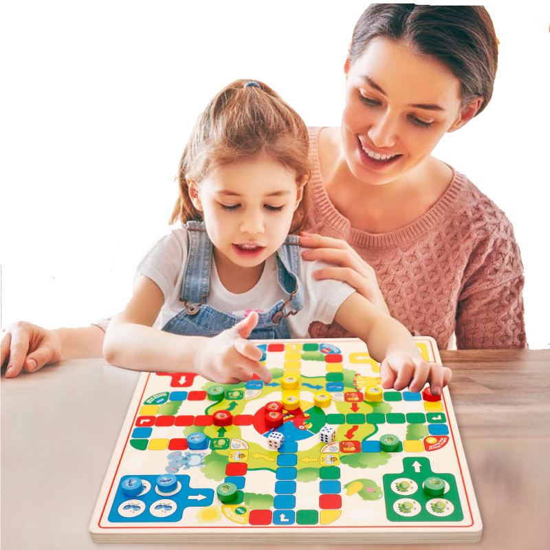 Wooden Puzzle Games Checkers Couple Toy Family Games Montessori Early Educational For Children Jigsaw Puzzle Learning Wood Gift