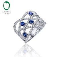 0.52ct Природный круглый голубой сапфирами и 0.65ct SI G H Diamond 14kt 585 Белое золото Обручение кольцо для унисекс
