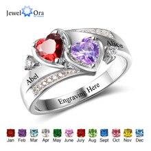 Pierścień przyrzeczenia spersonalizowane wygrawerować niestandardowy napis serce pierścień z kamieniem związanym z datą urodzin 925 srebro pierścionki dla kobiet prezent (JewelOra RI102502)