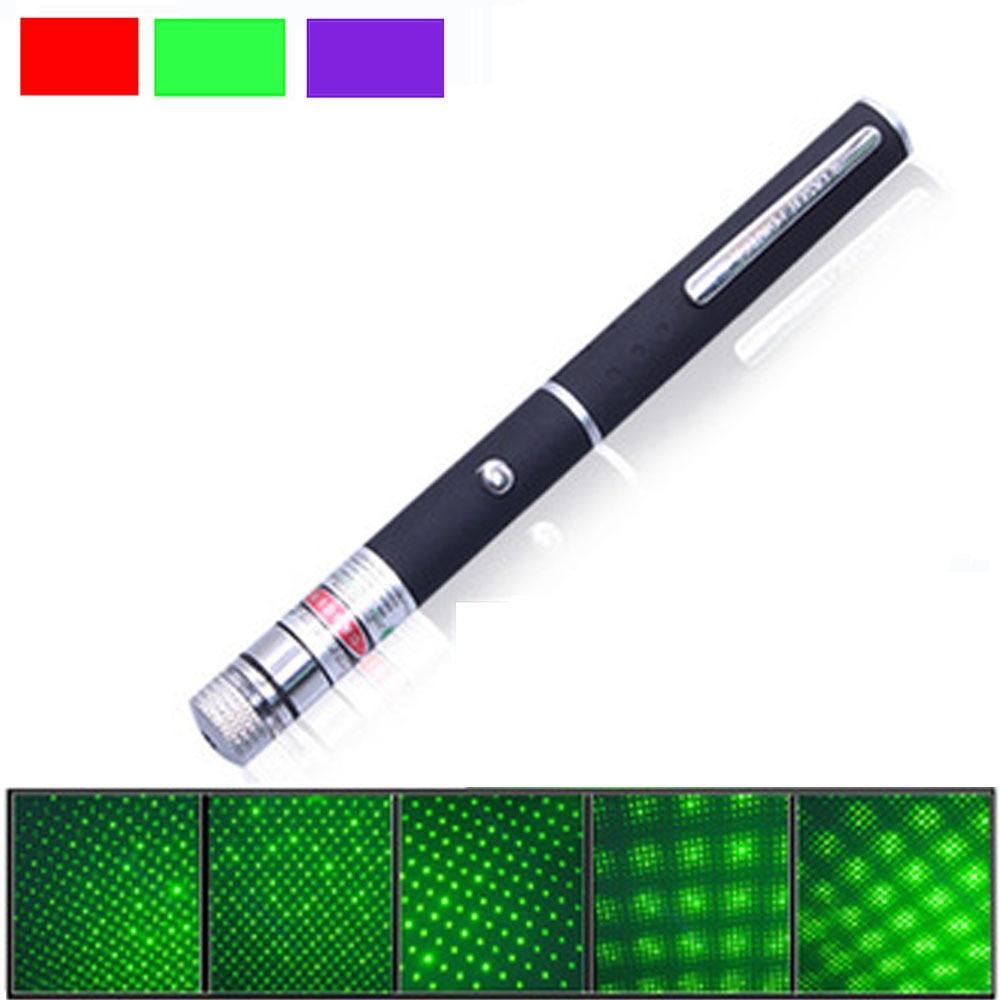 5mW piros / zöld / kék lézer pointer Erőteljes 500 m-es lézeres toll professzionális Lazer mutató 2 * AAA-akkumulátorral a tanításhoz