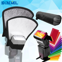 12 Colors Gel Filter Flash Diffuser Silver White Reflector Foldable Beam Snoot For Canon Nikon Sony