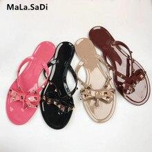 2693ace74179e Hot Sale New Fashion Summer Flip Flops Woman Rivets Sandals Bow knot Flat  Slippers Girls Studded