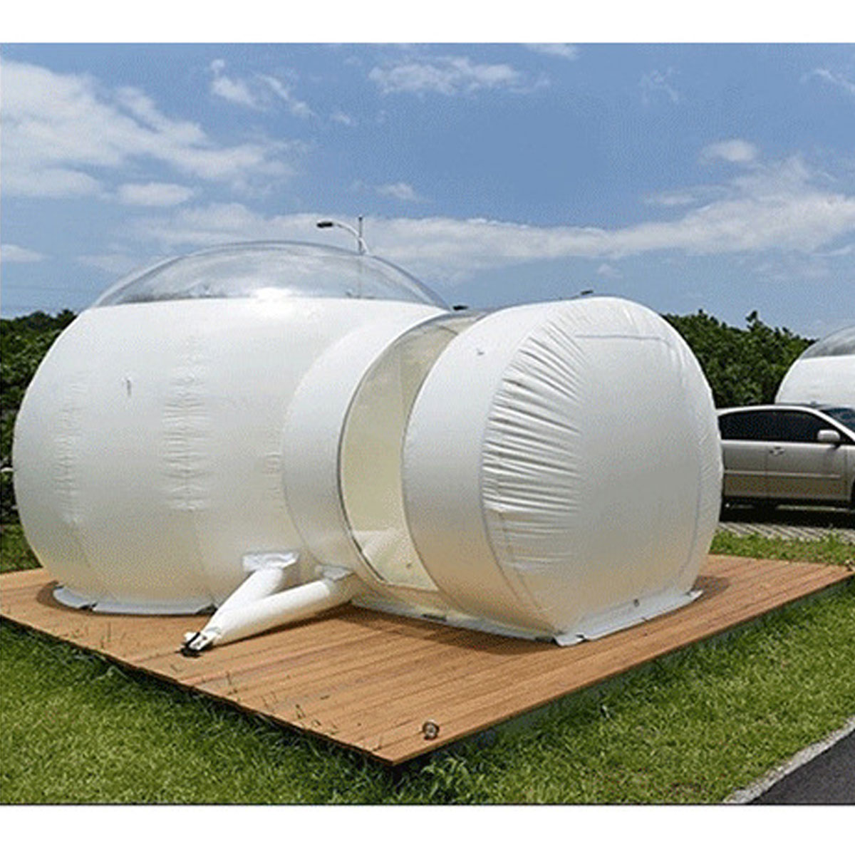 SGODDE 3 m gonflable Eco maison tente bricolage maison luxe dôme Camping cabine Lodge Air bulle - 2