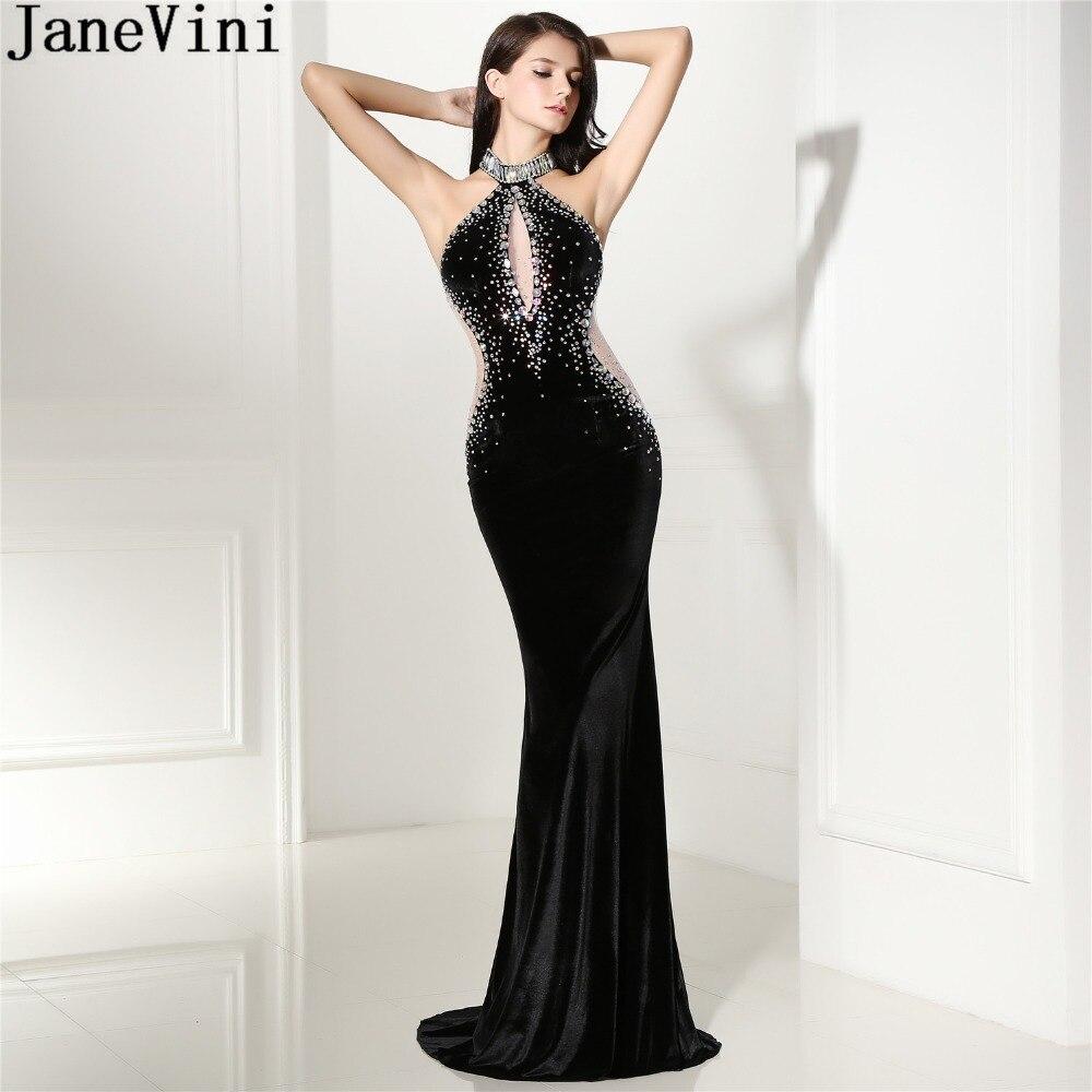 JaneVini Sexy African Crystal Women Formal Prom Dress Long Gowns Velvet Halter Backless Luxury Beaded Mermaid Bridesmaid Dresses