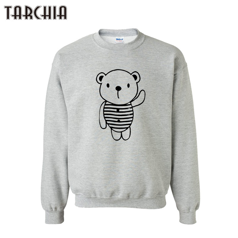 TARCHIA New 2019 Mens Hoody Sweatshirt Fashion Cartoon Bear Print Slim Fit Pullover Hoodies Men Sportswear Cotton Tops XS-XXL