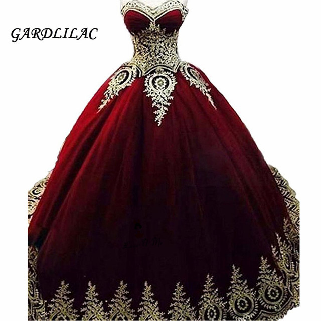 08ede052af9 Burgundy Gold Lace Appliques Quinceanera Dresses Ball Gown 2019 Vestidos de  15 Anos Royal Blue Puffy Sweet 16 Prom Dress Long
