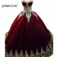Burgundy Gold Lace Appliques Quinceanera Dresses Ball Gown 2019 Vestidos de 15 Anos Royal Blue Puffy Sweet 16 Prom Dress Long
