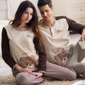 Free Shipping New arrive 100% Cotton Full Sleeve Cartoon Couples Gray Color Homewear