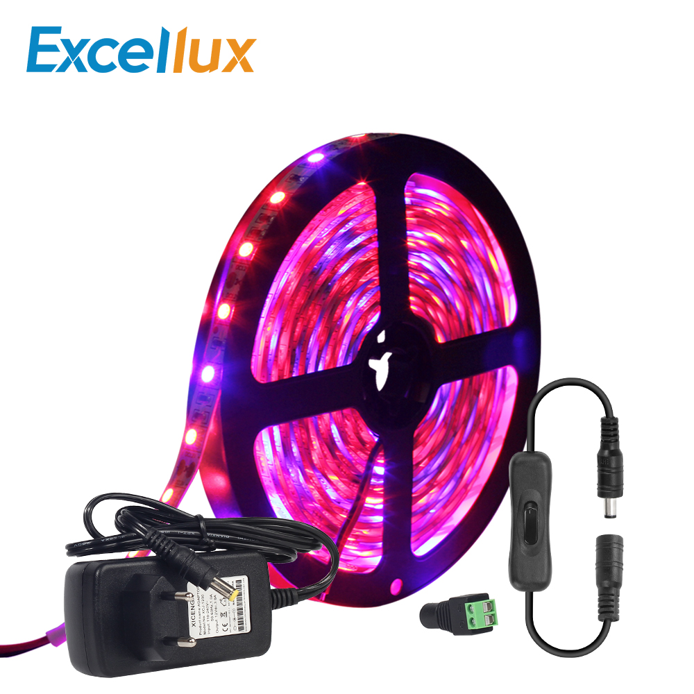 A Set DC 12V LED Grow Light Strip 5050 5M/lot 60leds/m IP20+ on/off Switch +Power Adapter Flexible Strip Light For Indoor Plants