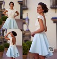 Luxury Robe De Cocktail Dresses 2016 Backless Cap Sleeves About Knee Vestidos De Coctel Party Gowns For Wedding Party