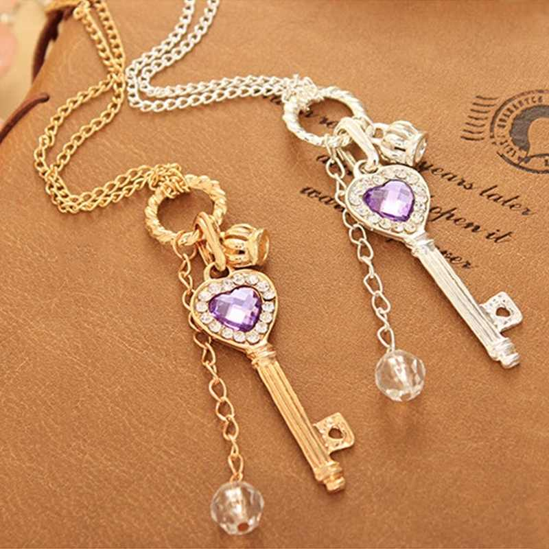 1PCS Fashion Women Love Heart Key Pendant Long Chain Necklace colgantes mujer moda Jewelry Accessories Gift