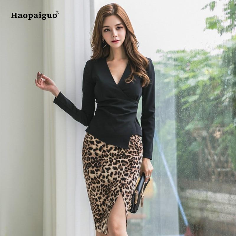 2 Piece Set Summer Women White Black Long Sleeve V-neck Elegant Blazer Shirt Office Top And Work Lady Midi Leopard Skirt Ladies For Fast Shipping
