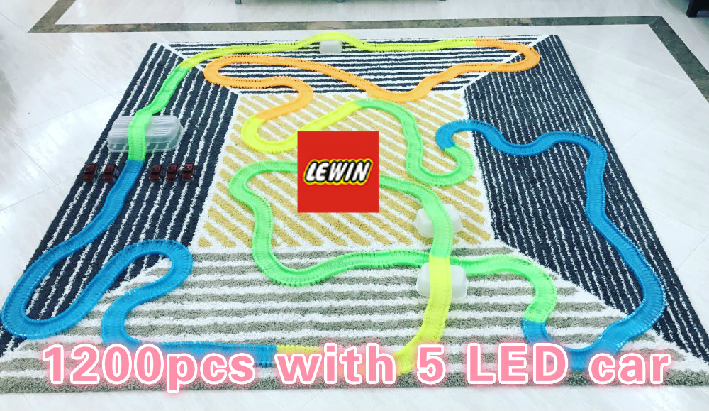 1200pcs track 5pcs Led car TRACKS Miraculous Glowing Race Track Bend Flex Cars toys for children brinquedos speelgoed 280pcs miraculous race track bend flex car toy racing track set diy track electric rail car model set gift for kids