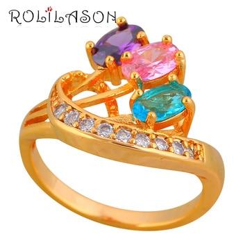 ROLILASON wysokiej jakości gorący bubel Trendy pierścionki dla kobiet Rainbow Mystic cyrkon złoty Tone biżuteria JR2142