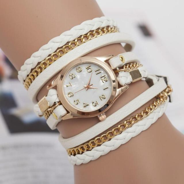 MINHIN Ladies Bracelet Watch Hand-knitted Three-layers Fashion Quartz Wristwatch