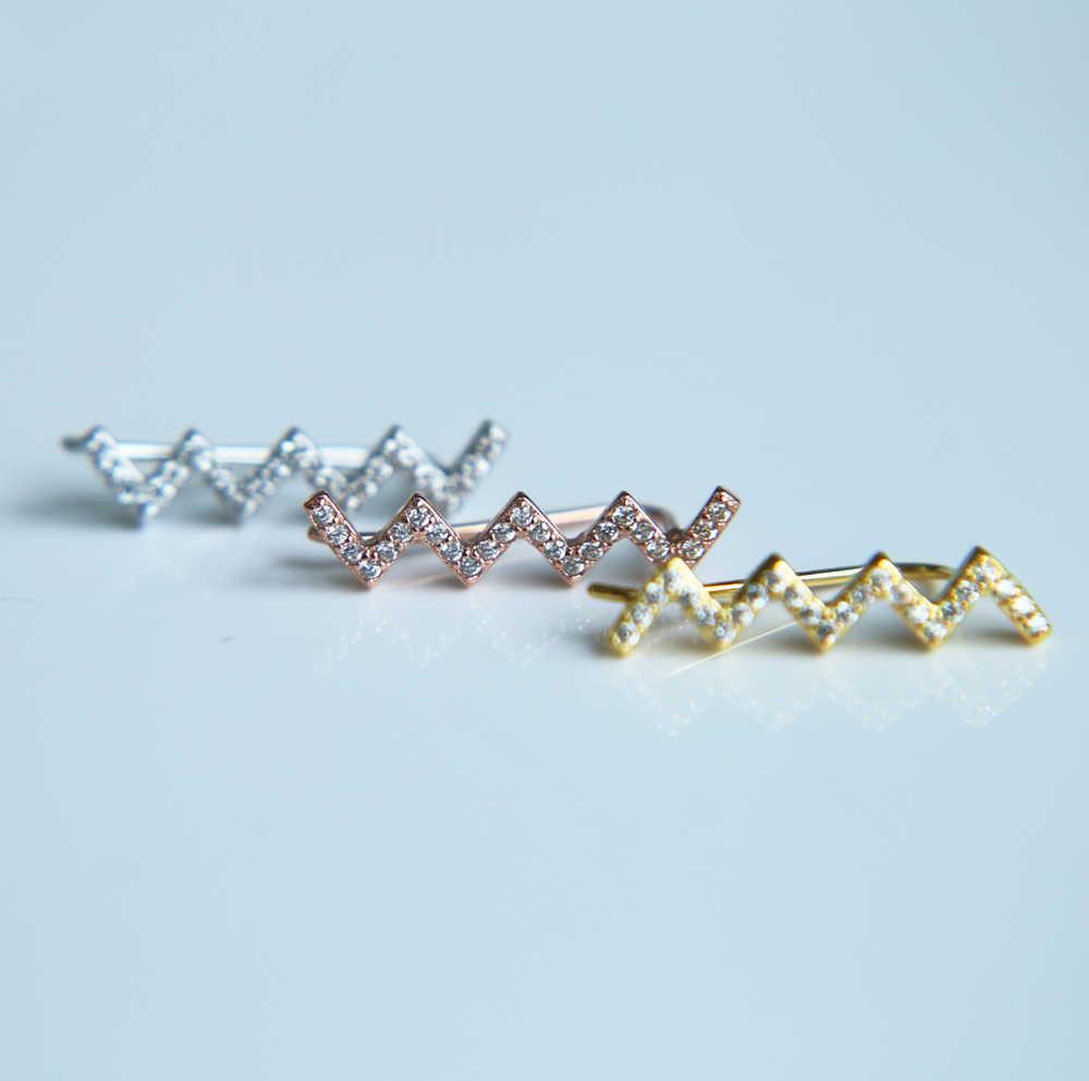 Gold filled genuine 925 prata esterlina ouvido fio longo onda bar bar mf clássico simples menina mulheres JÓIAS de Prata BRINCO MODA