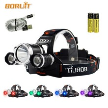 BORUIT UV 5000Lm T6 LED Headlamp 3 Modes High Power Headlight Purple Light For Camping Fishing 18650 Battery Head Torch 4 Color boruit 3000lm xml l2 led headlight 3 modes white light head torch linterna for fishing hunting zoomable 18650 battery headlamp