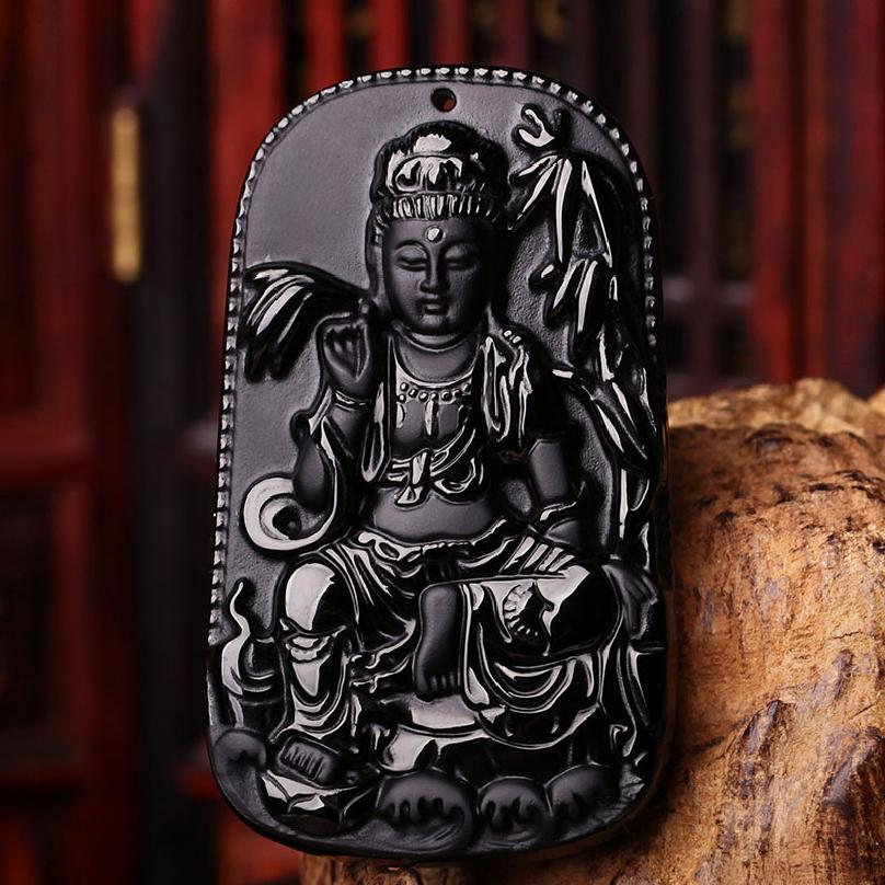 Chinese Natural Black Obsidian Hand Carved GuanYin Lucky Amulet Pendant Free Necklace Fashion Fine Jewelry