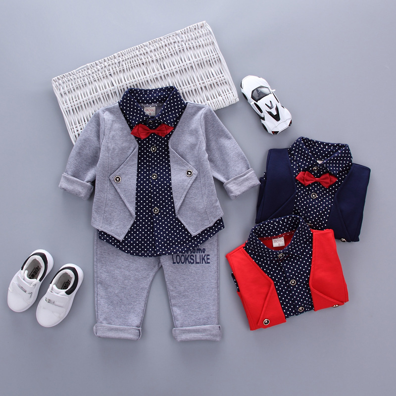 2017 New Arrival Fashion Cotton Hot Sales Infant Sets Plaid Long-sleeved Shirt+ Pants 2pcs Outfits Toddlers Bow Tie Set Clothes