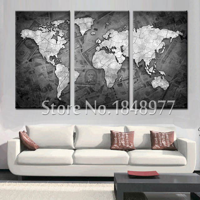 3 panel canvas wall art Modern abstract world map canvas oil ...