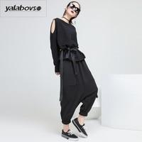 Yalabovso 2018 Spring Newest Europe And America Styles Harem Pants Female Loose Elastic Waist Patchwork Pants