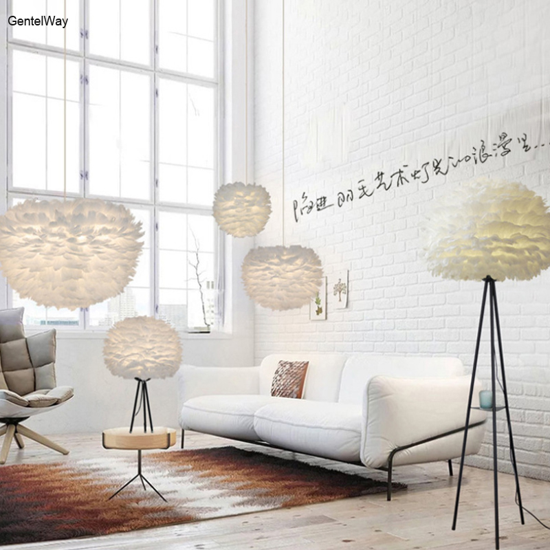 GentelWay Feather Chandelier LED Nordic Creative pendant lamp fashion art ceiling droplight romantic wedding decoration lighting horn shape creative pendant light black white kung brand nordic led droplight globe branching nordic art style decoration