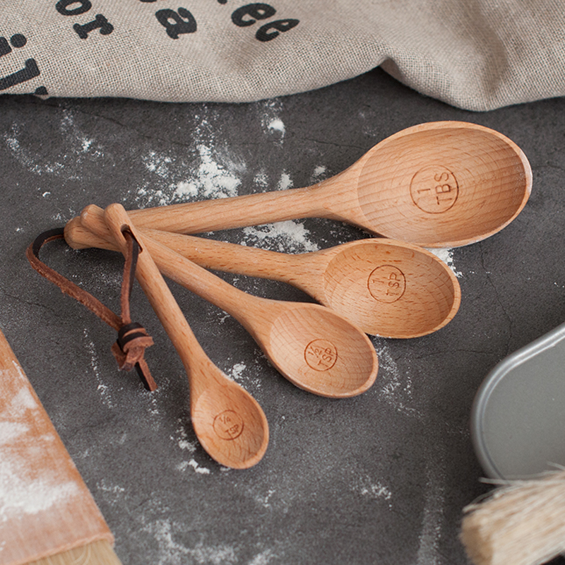 4pcs Wood Measuring Spoon Set High Quality Kitchen Coffee Sugar Spice Spoon Baking Measuring Scoop Cooking Tools Wooden Utensils (3)