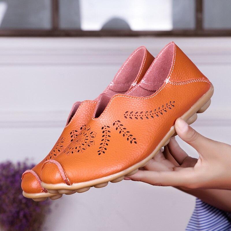 40d960ccd ... Casuais a1866 Couro Dedo Do Redondo Orange Barco A1866 1 Ballet Mulheres  Loafers Genuíno Deslizamento Sapatos ...