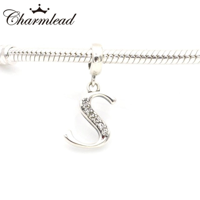 Charmlead original 925 sterling silver charms alphabet s charm fits charmlead original 925 sterling silver charms alphabet s charm fits pandora charms bracelet necklace diy jewelry aloadofball Images