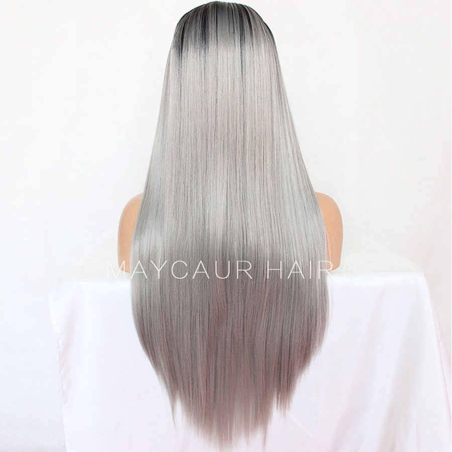 _0003_Maycaur 180 Density Gray Natural Straight  Synthetic Lace Front Wigs Black Grey Color Hair Natural Hairline (3)