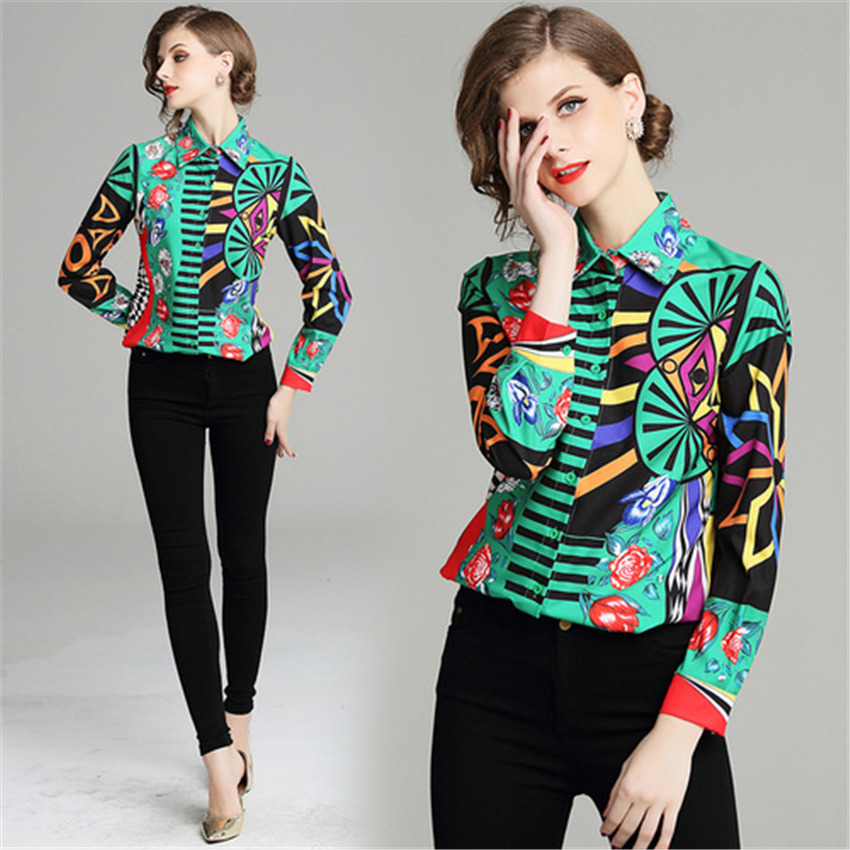Women Shirt Autumn 2018 Fashion Long Sleeve Retro Printing Vintage Chiffon Blouse Tops Ladies Office Shirt camisa blusas mujer