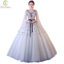 SSYFashion новое красивое кружево с цветами вечернее платье, для банкета серый v-образный вырез длина до пола платья для вечеринки с аппликациями на заказ торжественные платья
