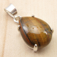 TIGER S EYE Pendant Original Gem BIRTHSTONE Silver Plated Jewelry 1 1 NEW