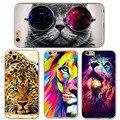 Cute Cat с Очки Тигр Череп Pattern Case Cover For iphone 5 5S SE 6 6 S Прозрачный Мягкого Силикона Дела Сотовый Телефон