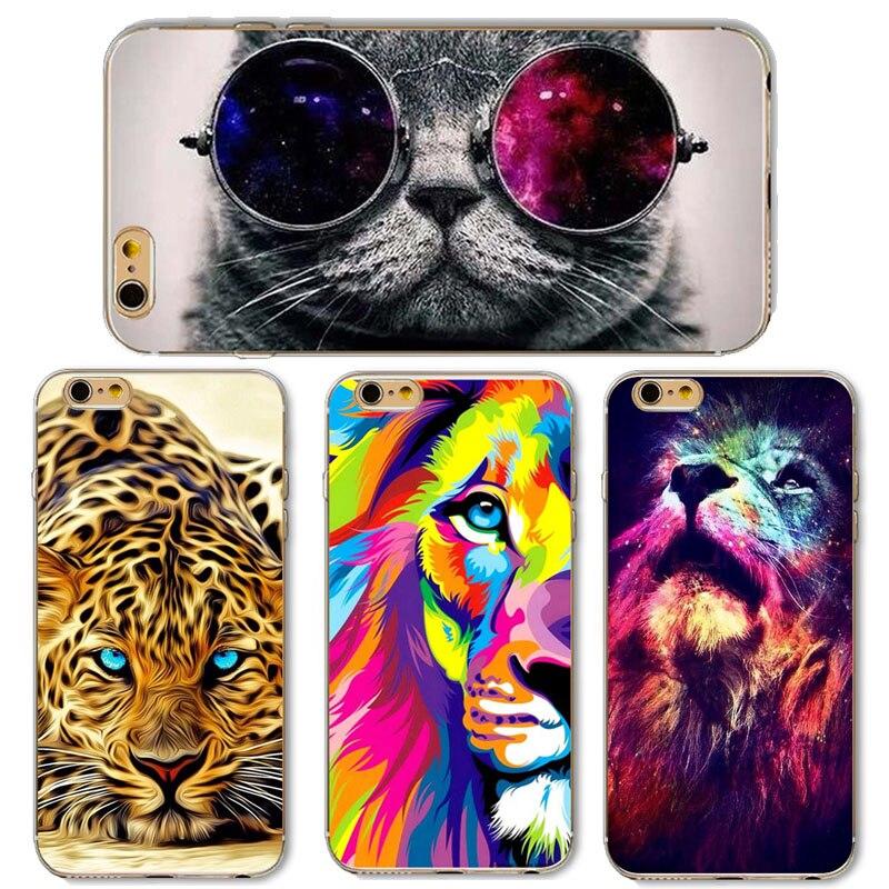 Cute Cat with <font><b>Glasses</b></font> Tiger Skull Pattern <font><b>Case</b></font> <font><b>Cover</b></font> <font><b>For</b></font> <font><b>iphone</b></font> 5 5s SE 6 6S Transparent Soft <font><b>Silicone</b></font> Cell <font><b>Phone</b></font> <font><b>Cases</b></font>