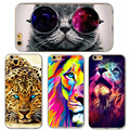 Cute cat con gafas tiger skull patrón case cover para iphone 5 5S SE 6 6 S Cajas Del Teléfono Celular de Silicona Suave Transparente