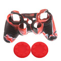 Camouflage Red Soft Anti-slip Protective Silicone Cover Case Shell 2xJoystick Thumb Stick Caps For Dualshock 3 PS3 Controller