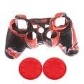 Camuflaje Rojo Suave antideslizante Funda Protectora de Silicona Caso de la Cubierta de Shell 2 xJoystick Pulgar Stick Caps Dualshock 3 Para PS3 controlador