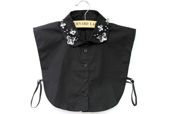 New half black white collar decorative collar false collar Wild round neck shirt lapel doll pearl button shirt false collar