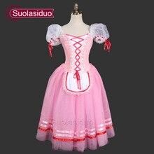Pink Romantic Ballet Tutu Girls Giselle Dresses For Children Dress Adult Peasant SD0003D