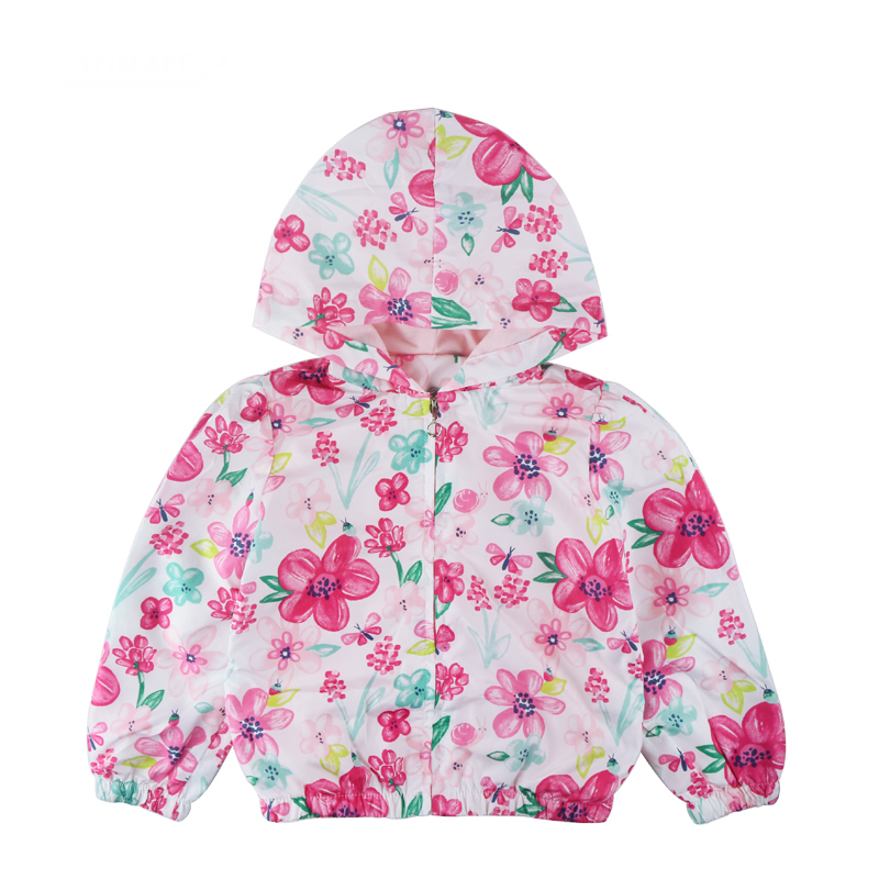 2018 New Spring Floral Kids Jackets For Girls Clothes Princess Costume For Kids Baby Coat Children Hooded Windbreaker Girl Coats