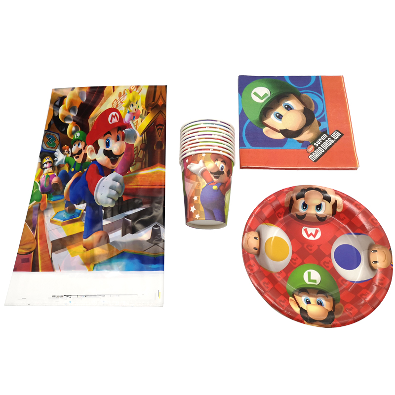 225 & US $24.03 31% OFF|61pcs/lot Super Mario Theme Birthday Party Tablecloth Plates Decorate Table Cover Cups Kids Favors Baby Shower Paper Napkins-in ...