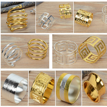 Metal alloy napkin rings gold and silver color for table decoration  table napkin rings wholesale metal shiny colour tai top 1 pc flower napkin rings gold silver crystal napkin holders napkin buckle for wedding dinner party table decoration