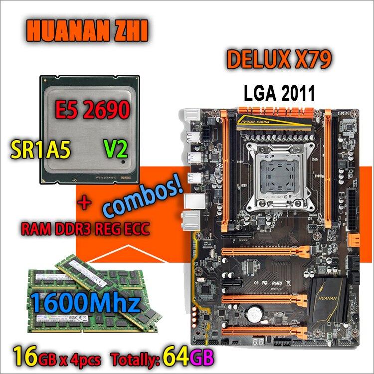 HUANAN ZHI Deluxe versión X79 de placa base LGA 2011 ATX combos E5 2690 V2 SR1A5, 4x16, 4x18G 1600 MHz 64 gb DDR3 RECC de memoria