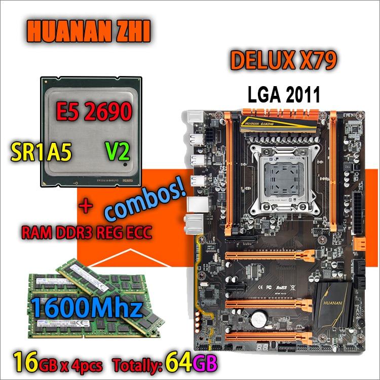HUANAN ZHI Deluxe version X79 carte mère de jeu LGA 2011 ATX combos E5 2690 V2 SR1A5 4x16G 1600 MHz 64 gb DDR3 RECC Mémoire