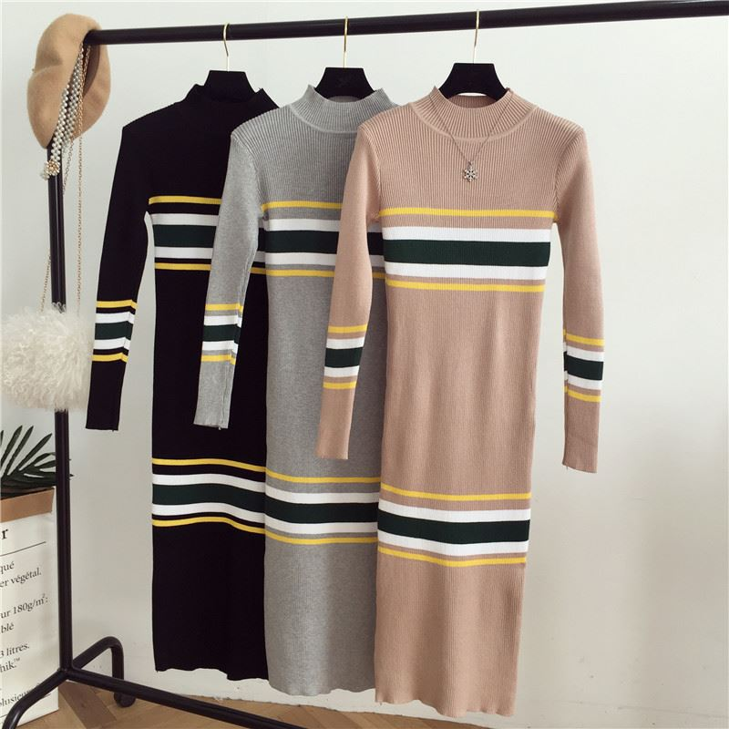e1fd365112e Vintage Striped Bodycon Knitted Dress Women 2018 Autumn Winter Long Sleeve  Knee Length Vestidos Elegant Ladies Sweater Dresses