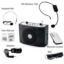 Free Shipping! Portable Voice Booster Amplifier 25W Loudspeaker Remote Control+FM Wireless Mic