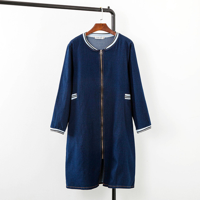 2016 Autumn Blue Denim Trench Coat for Women Casual V-neck Zipper Plus Size 3XL Slim Long Trench Outerwear KK1741