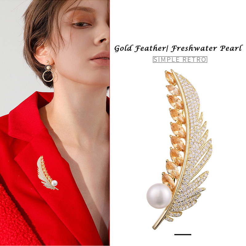 Hongye Feather Sparkly Pin 100% Natural Freshwater Pearl Brooches for Women Gold AAA CZ Vintage Brooch Jewelry Christmas Gift