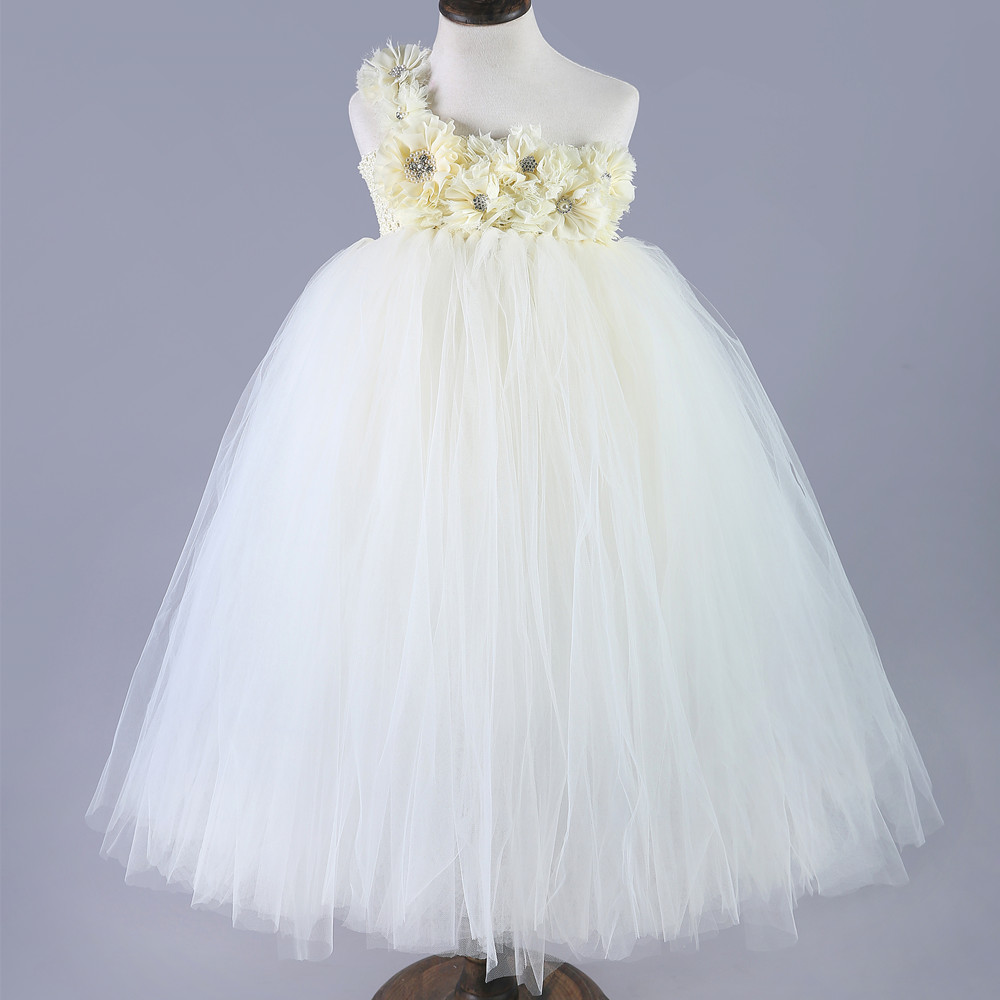 New Cute Flower Girl Princess Dress Kids Party Pageant Wedding Bridesmaid Tutu Dresses Formal Gowns Tulle Custom Birthday Dress flower kids baby girl clothing dress princess sleeveless ruffles tutu ball petal tulle party formal cute dresses girls